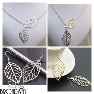 Matching Set of Leaf Necklace & Earrings